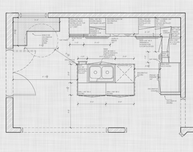 Once we have decided on the general concept of the space, we take detailed measurements. This information is used to develop detailed technical CAD drawings.  The drawings allow you to see the layout of the space.