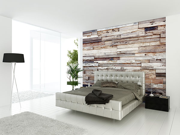 Minimalist styled bedroom to generate ideas on accent walls using wood.