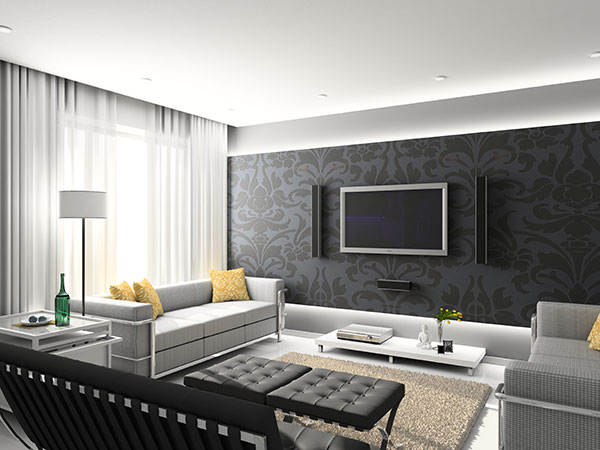 Angled design styles used in this fashionable sleek living room with black patterned accent wall.