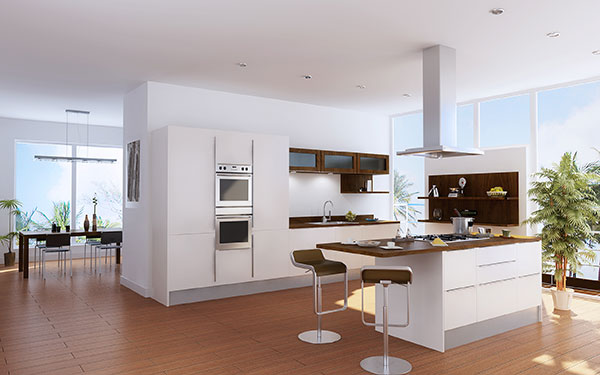 White kitchen cabinetry.