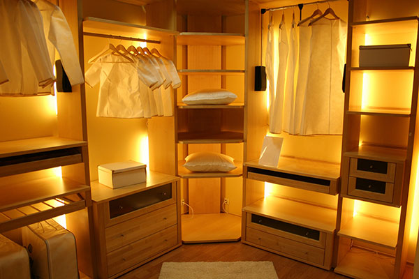Walk in closet designed with back lighting