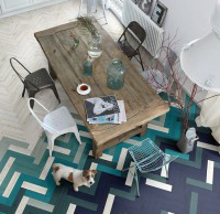 Floor tiles blending colour into shades
